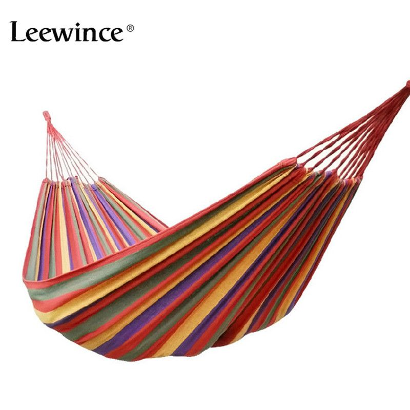 Leewince Big-Size Hammock Portable Camping <font><b>Garden</b></font> Beach Travel Hammock Outdoor Ultralight Colorful Cotton Polyester Swing Bed