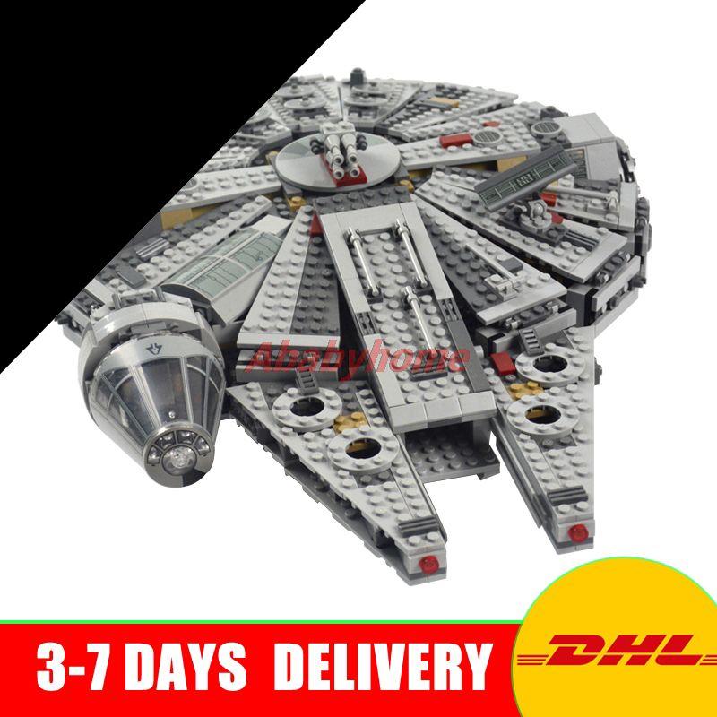 DHL 1381 stücke 05007 UCS Han Solo Millennium Falcon Gebäude Kit 79211 satz Kinder Spielzeug Kompatibel mit 75105