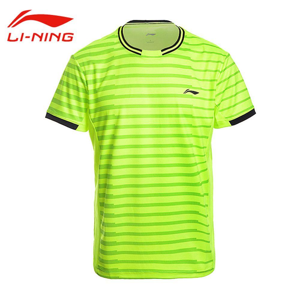 Li-Ning herren Professionelle Badminton T-Shirts ZU TROCKENEN Kurzen Ärmeln Atmungs T Li Ning Tennis Hemd FUTTER Sport top AAYM143