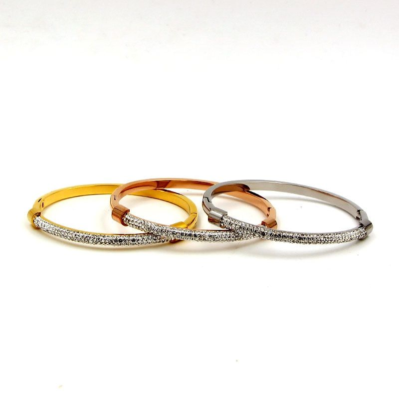 new arrive stainless steel fashion jewelry sliver gold rose color bracelet set for couple TYCB18