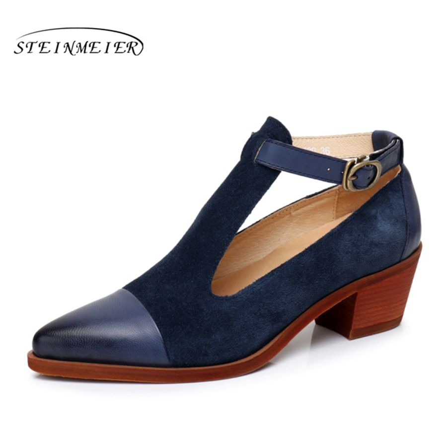 100% Genuine leather yinzo designer vintage Pumps sandals shoes pointed toe handmade brown blue red oxford shoes for women 2018