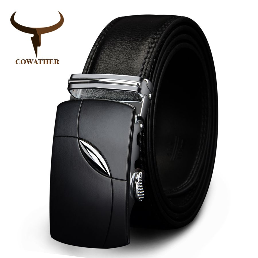 COWATHER 2017 cow genuine <font><b>leather</b></font> belts for men automatic alloy buckle black brown color free shipping cz035