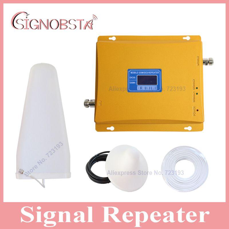 Высокого усиления ЖК-дисплей дисплей мобильного телефона Dual Band 900 1800 повторитель усилитель сигнала мобильного телефона gsm900 4 г DCS1800 МГц сото...