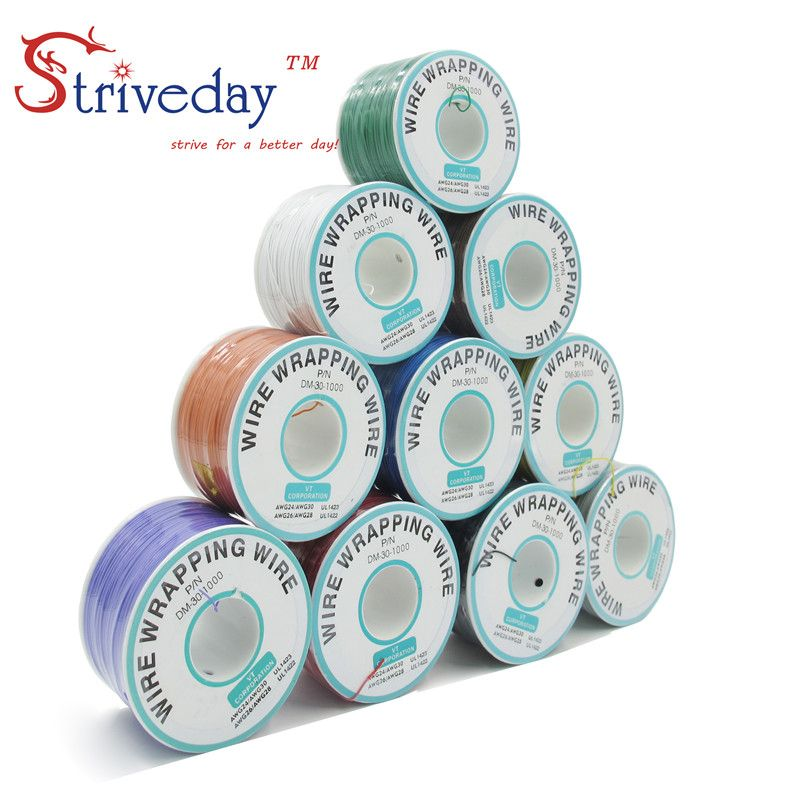 250 Meters 820ft Electrical Wire 10 Colors Single Strand Copper AWG30 Cable OK Wire & PCB Wire DIY CABLE