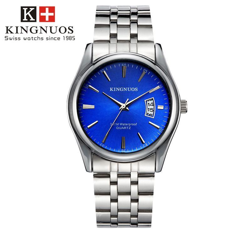 Kingnuos Топы корректирующие Элитный бренд Для мужчин полный Нержавеющаясталь Бизнес Часы Для мужчин кварцевые Дата часы Для мужчин наручные ...