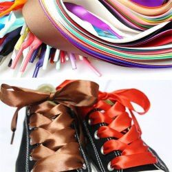 1PAIR 2 CM Width 120CM Flat Silk Ribbon Shoelaces Nylon Shoe Laces Sneaker Sport Shoes Lace  Drop Shipping