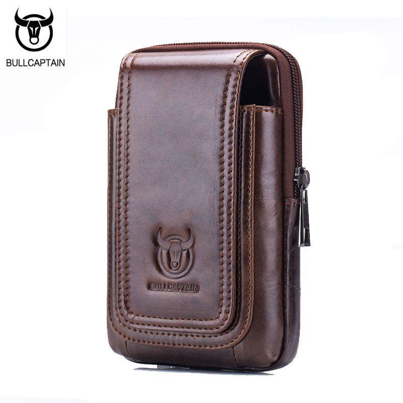 BULL CAPTAIN 2017 nouveau Portable Mini poche ceinture taille sac Fanny hommes en cuir véritable Mobile téléphone portefeuille voyage petite taille Pack