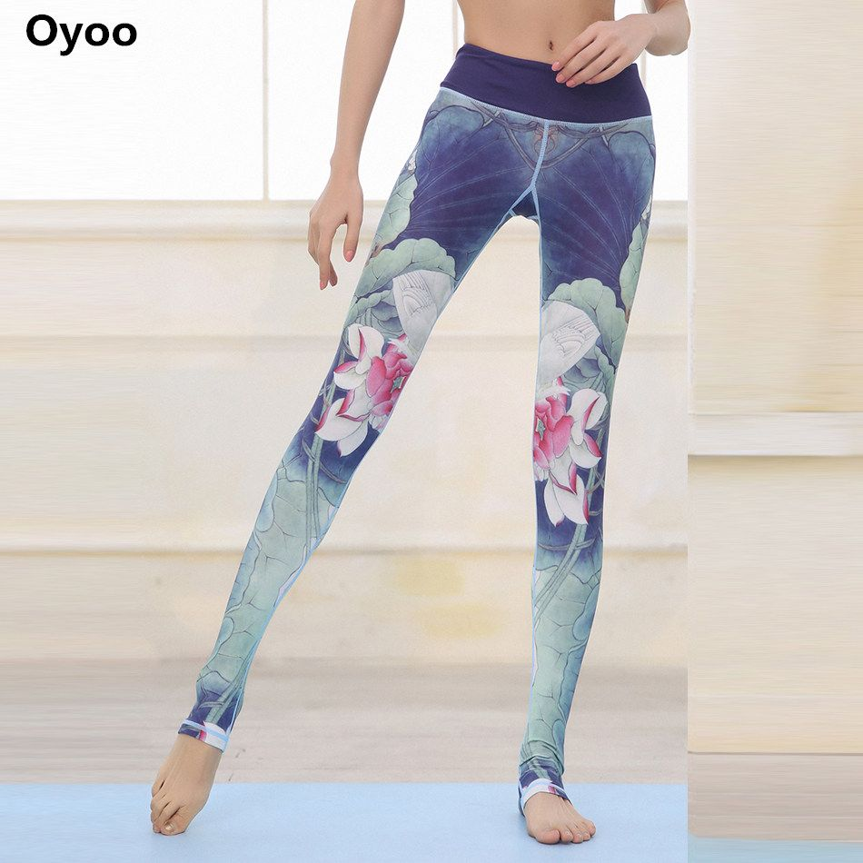 Oyoo удобные лотоса спортивные Леггинсы полная длина цветочный принт Высокая талия Бег Yoga Штаны синий спортивные Леггинсы для фитнеса Gymwear