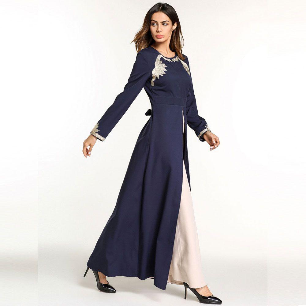 vintage ethnic maxi dress patchwork Embroidery Ramadan evening party wear women Abaya Muslim gowns Islamic Prayer Clothing