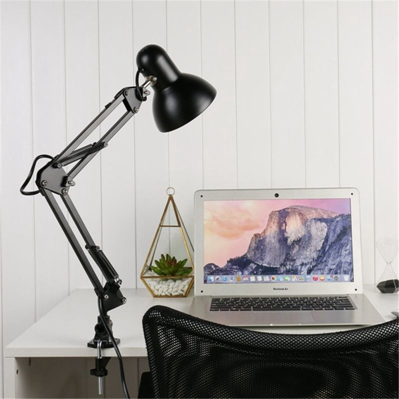 Smuxi E27/E26 Led Bulb Lamps Flexible Table Lamp AC85-265V Swing Arm Clamp Mount Lamp Office Studio Home Table Desk Light