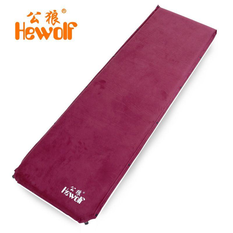 6.5 cm d'épaisseur hewolf daim coussin gonflable automatique étanche à l'humidité matelas extérieur camping tente tapis sieste tapis avec bouche en cuivre