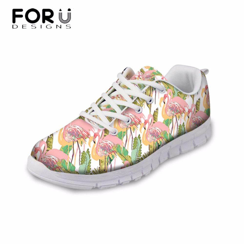 FORUDESIGNS Fashion 3D Tropical Flamingos Design Casual Flats Shoes Woman Autumn Women Breathable Comfortable Leisure Shoes Girl