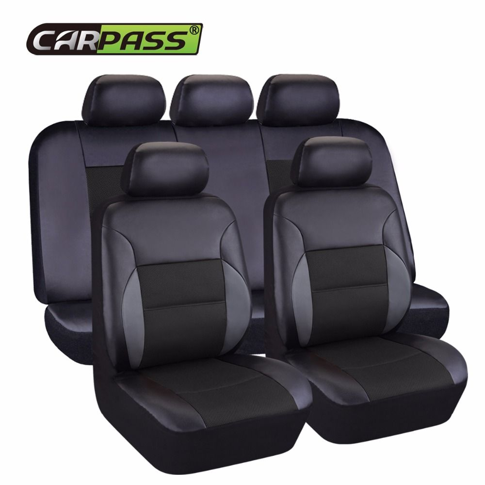 Car-pass Artificial Leather Car <font><b>Seat</b></font> Cover 6 Color Universal Automotive Car Interior Accessories 40/60 50/50 60/40 For 99% Cars