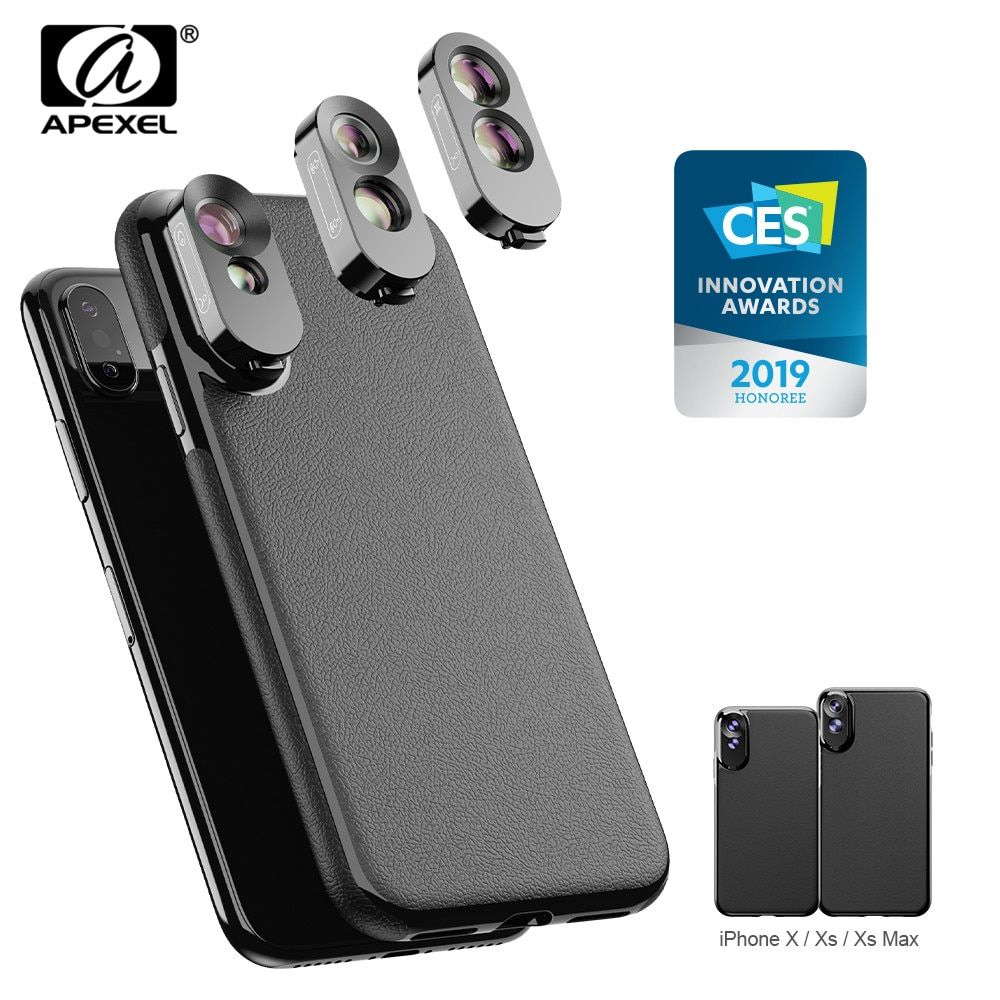 APEXEL 3 en 1 double Macro objectif ensemble grand Angle téléobjectif Fisheye objectif avec Kit de etui de téléphone en cuir synthétique polyuréthane pour iPhone X, XS, XS Max