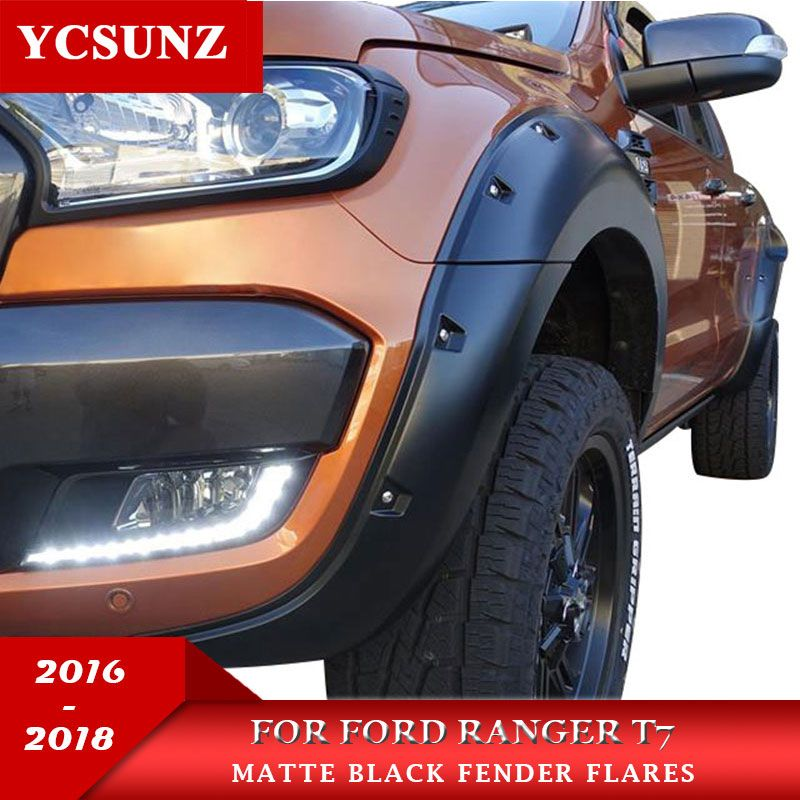 9 Inch With Nut Wheel Arch Fender Flare For Ford Ranger Wildtrak T7 2016 2017 2018 Double Cabin