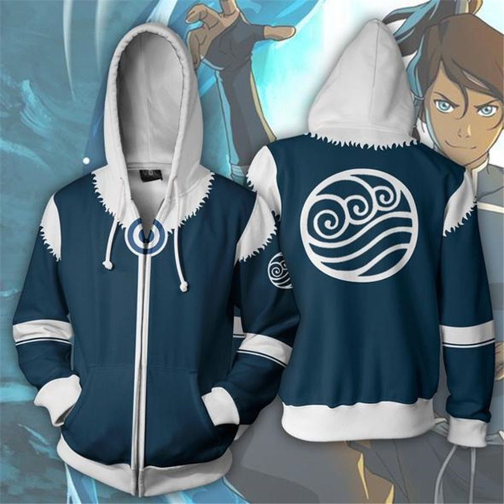 Cosplay Avatar: The Last Airbender Costume Sweatshirts European and 3D Printing zipper Jacket Hooded sweater coat tops adult