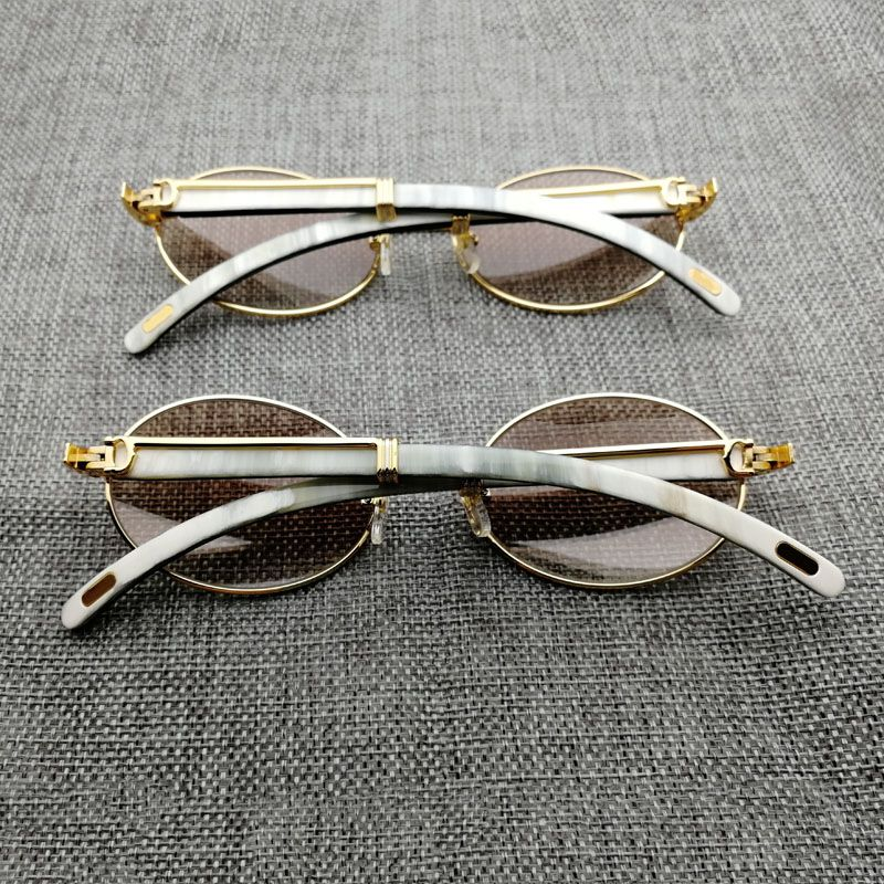 Round Sunglasses Men Shades Wood Sunglasses Buffalo Horn Glasses for Driving Club Eyewear Retro Style Eyeglasses for Summer