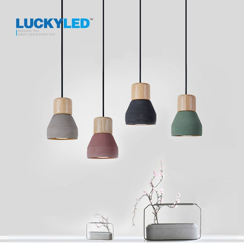American Country <font><b>Style</b></font> cement Pendant Light 120cm wire E27 / E26 Socket Droplight 4 colors wood indoor Decoration Hanging Lamp