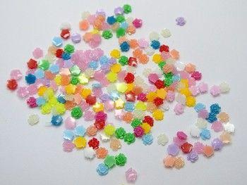 500 Mixed Color Flatback Resin Floral Mini Flower Cabochons 5mm DIY Craft