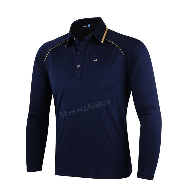 2017 autumn men golf long-sleeve training garment sports jersey striped shirts polo tops golf wear brand sports shirt grey