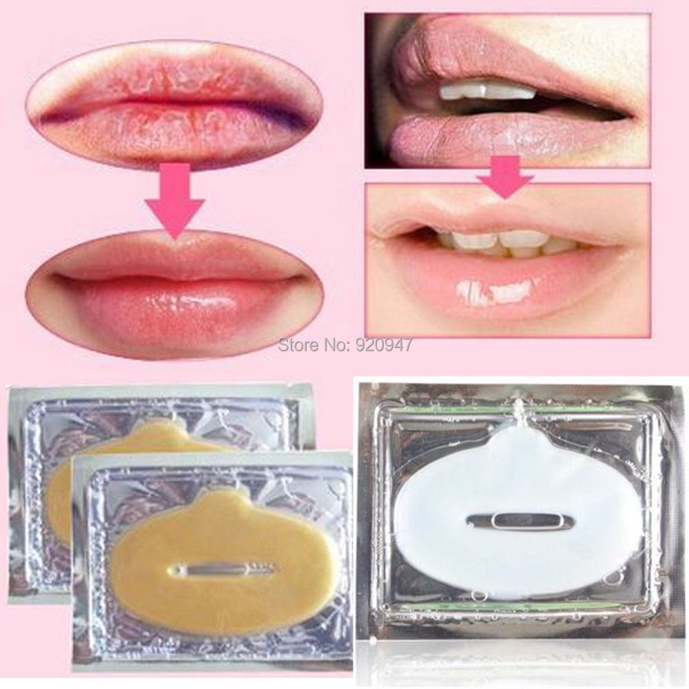 New 20PCS Crystal Gold Powder Gel Collagen Lip Mask Masks Sheet Patch