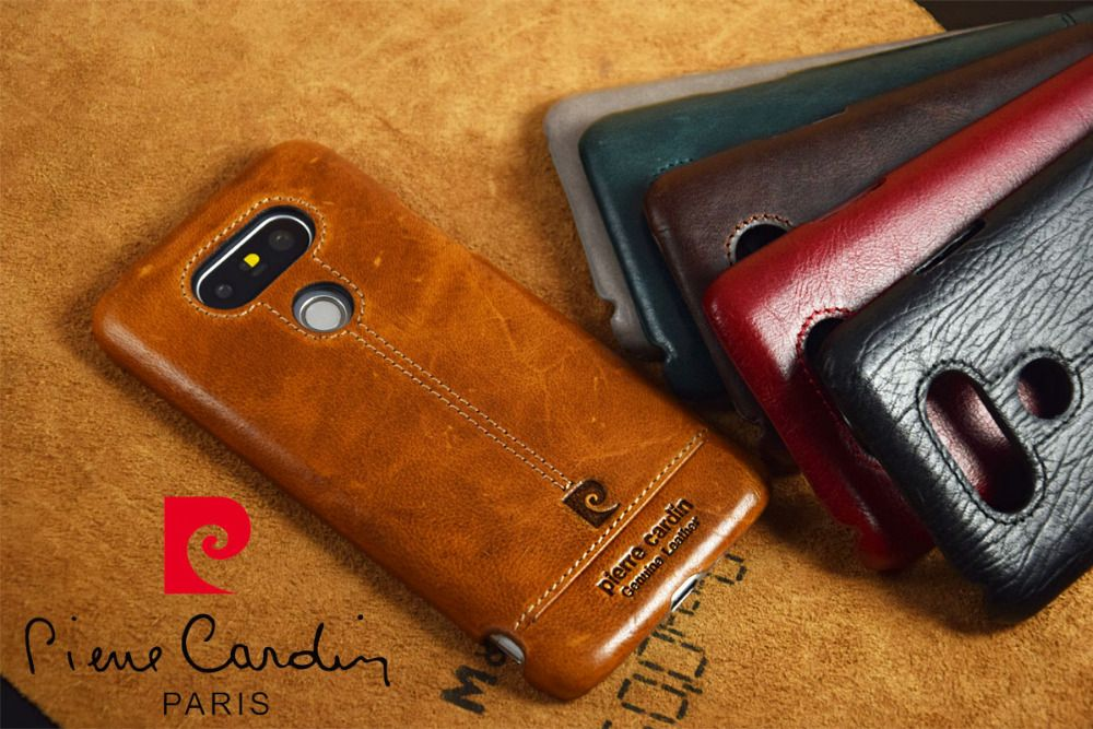 Pierre Cardin New Phone Case For LG G5 Case Genuine Leather PC Hard Back Cover Free Shipping