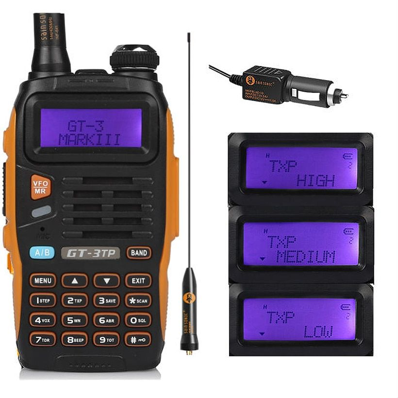 Baofeng GT-3TP MarkIII TP 1/4/8Watt High Power Dual-Band VHF UHF Ham Two-way Radio Walkie Talkie Transceiver with Car Charger