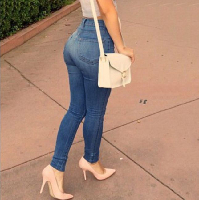 QA872 Blue elastica cotton denim push up jeans women slender high waist jeans femme hot selling pencil pants