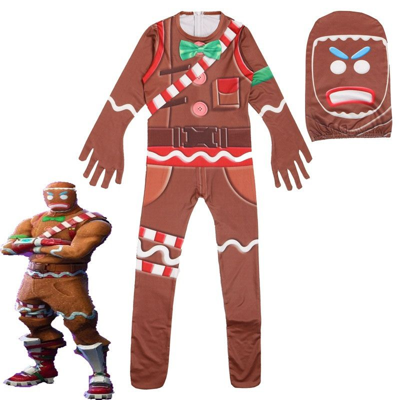 Gingerbread Man Skin Decoration Character Clown Boys Cosplay Clothes Halloween Costume Battle Royale Party Funny Kid Clothing