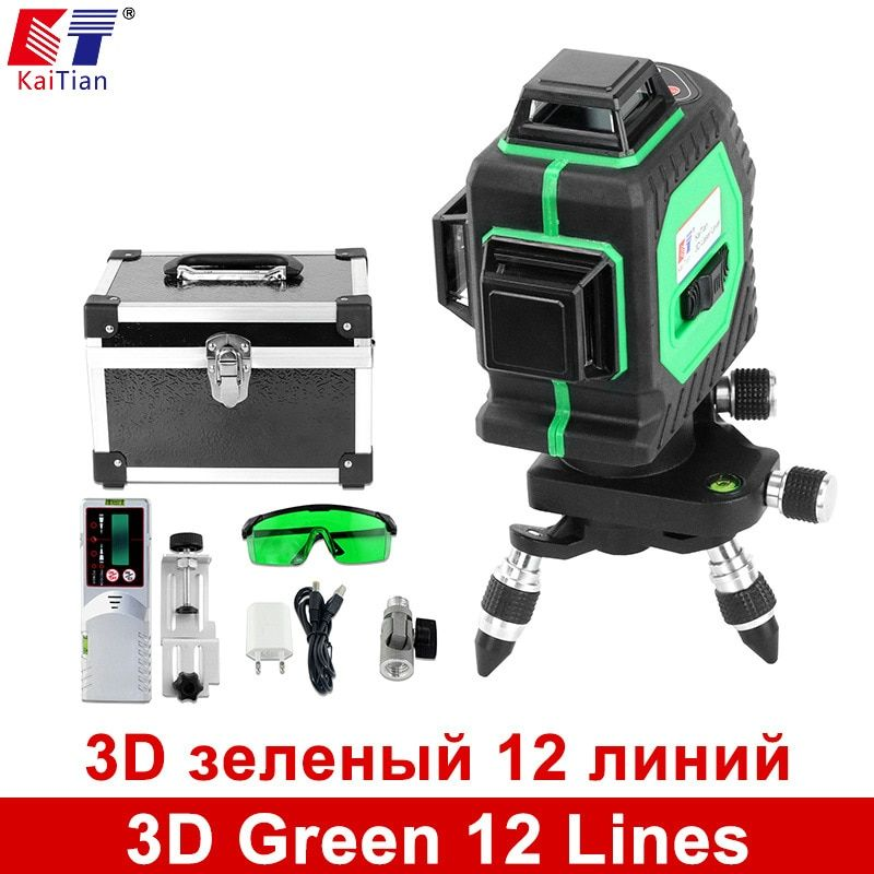 KaiTian 3D Green 12 Lines Laser Level 360 Rotary Self Leveling with Laser Detector and Tilt Slash Function Outdoor Laser Beam
