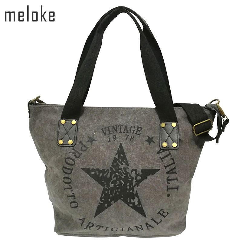 Meloke 2017 BIG STAR PRINTING VINTAGE CANVAS SHOULDER BAGS Women Travel Tote <font><b>Factory</b></font> Outlet Plus Size Multifunctional Bolsos