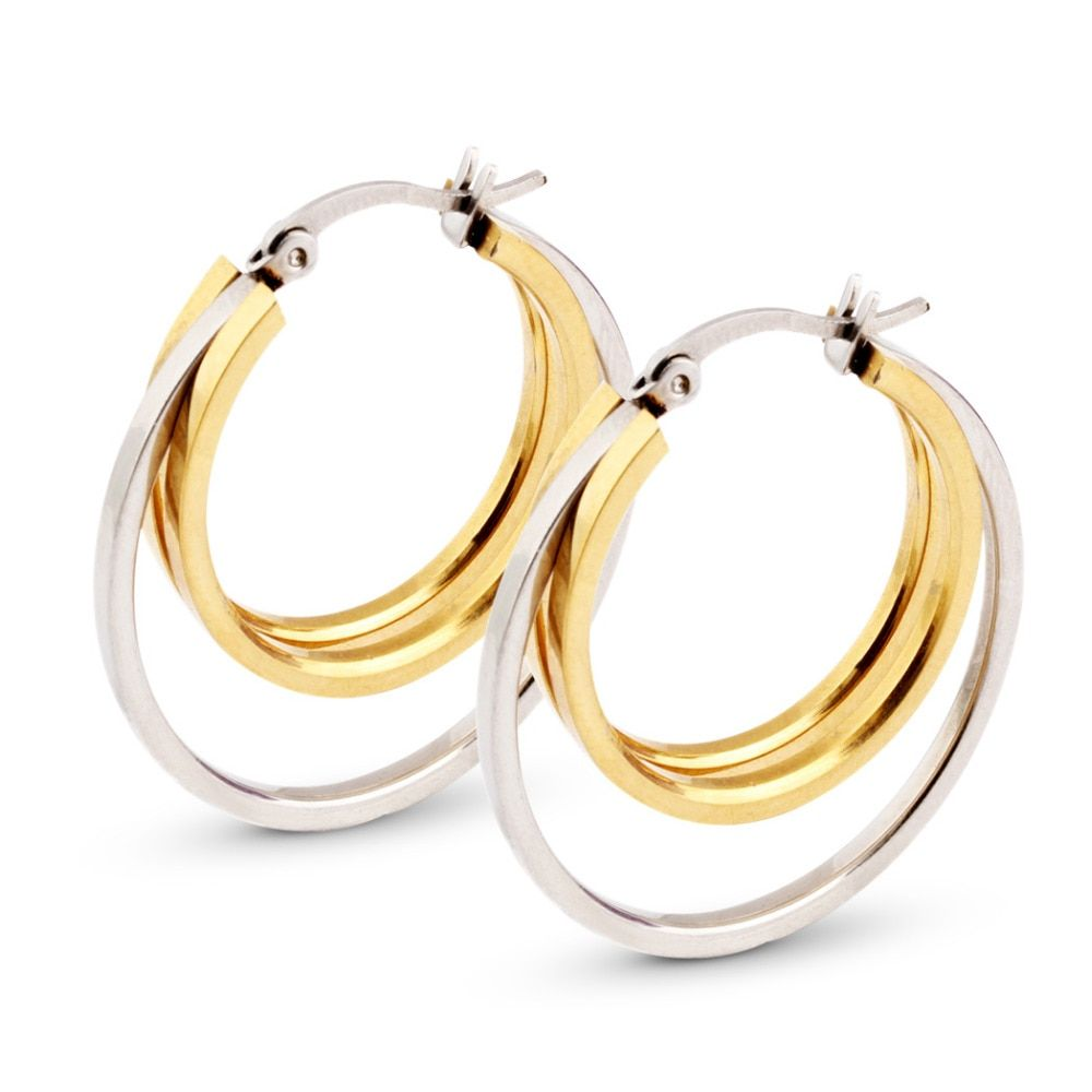 Free Shipping Fashion Jewelry Stainless Titanium Steel Silver Smooth Hoop and Gold Wings Women's Hoop  Earrings