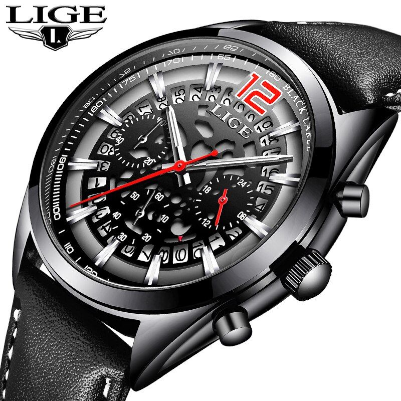 Mens Watches LIGE Top Brands Luxury Men's Military Sports Watches Men's Waterproof Quartz Watches Timing Date Clock Relogio+Box