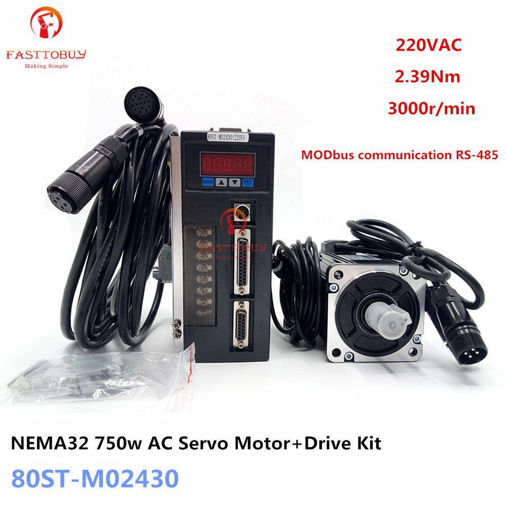 NEMA32 2.39Nm 0.75kw AC Servo Motor + Drive Kit 1/3-Phase 220 V 750 w 3000r/min 80ST-M02430 MODbus für Material Förder Maschine