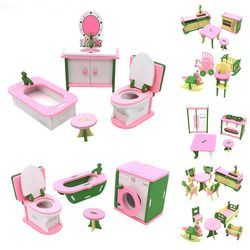 Simulation Miniature Wooden Furniture Toys DollHouse Wood Furniture Set Dolls Baby Room For Kids Play Toy Furniture For Dolls