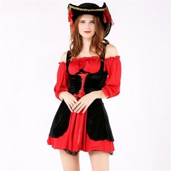2018 New high quality Sexy Black red Women Pirate Costume Halloween Pirate Cosplay Dress new Year Carnival Party Adult Costumes
