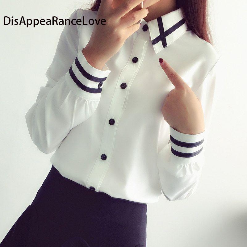 Femmes Blouses nouveauté mode 2019 automne Style coréen à manches longues Sequin en mousseline de soie dames bureau chemise blanc bleu hauts formel