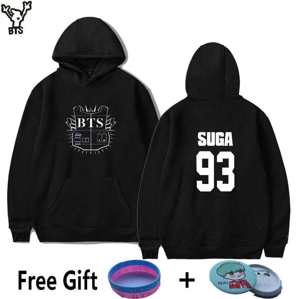 BTS Offre Spéciale Bangtan Garçons Design De Mode À Manches Longues Femmes Hoodies Sweats SUGA 93 BTS Noir Sweat Femmes Marque XXS 4XL