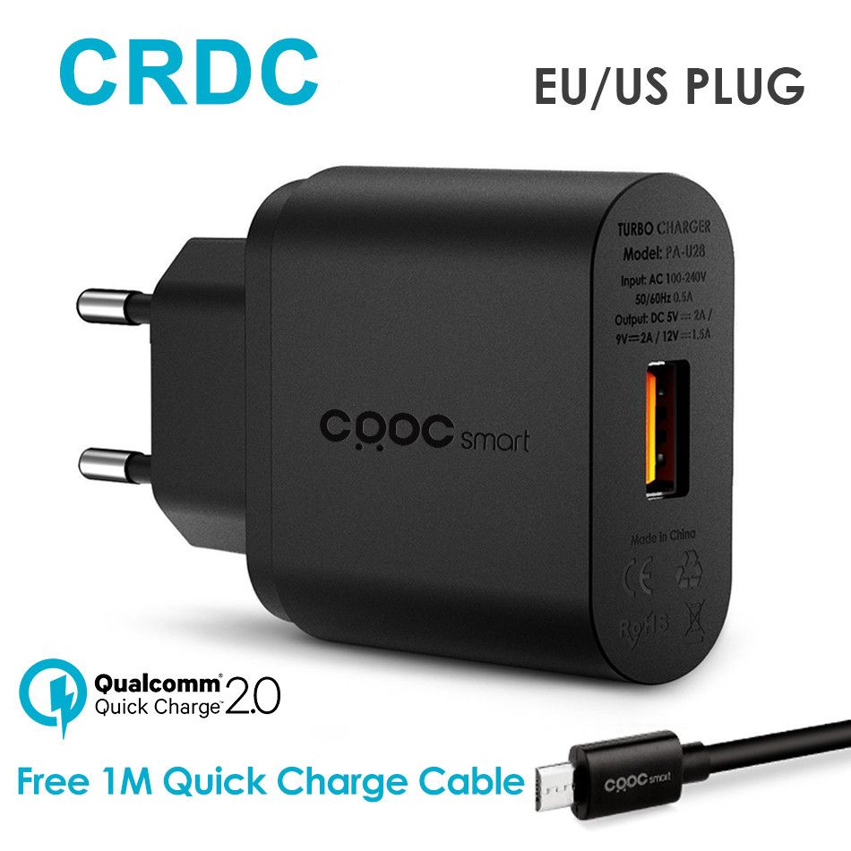 CRDC Quick Charge 2.0 USB Charger for Phone Universal Travel Charger Adapter Portable Smart Mobile Phone Charger for Galaxy S8