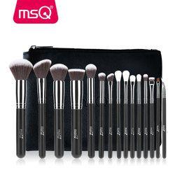 MSQ 2/15 Pcs Makeup Brushes Set Bubuk Foundation Eyeshadow Kuas Make Up Kosmetik Rambut Sintetis Yang Lembut dengan PU case Kulit