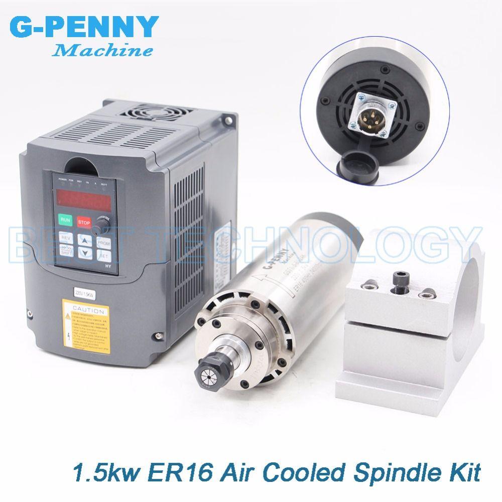1.5kw ER16 luftgekühlten spindel motor 4 lager luftkühlung 1,5 kw CNC fräsen spindel & 220 v 1.5kw inverter VFD & 80mm halterung
