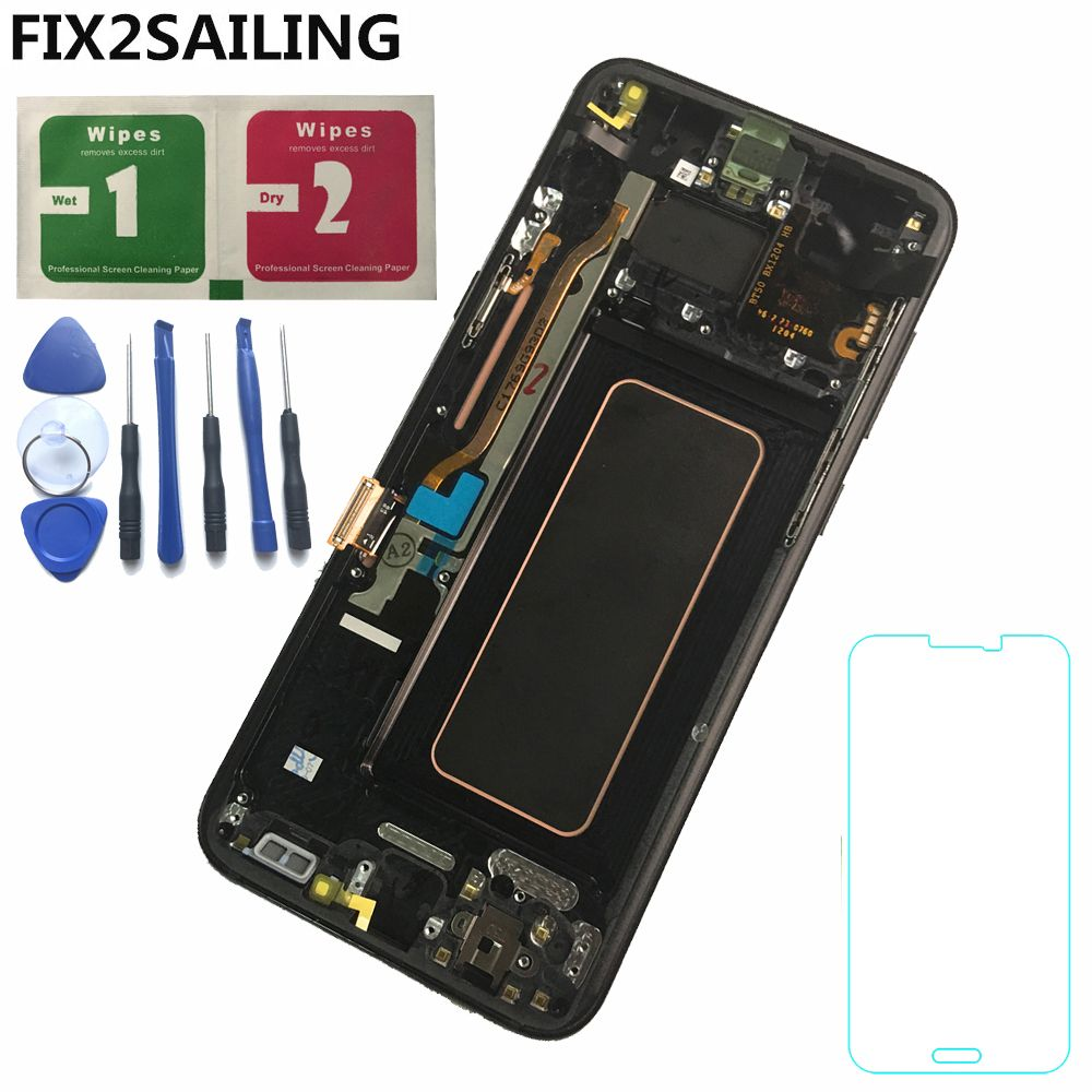 For Samsung Galaxy S8 Plus G955 G955F G955A G955T G9550 LCD Display 100% Tested Working Touch Screen Frame Assembly