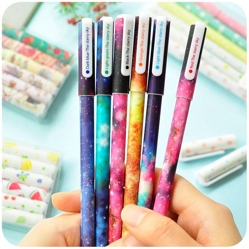 6 color gel pen set starry imprime floral rodillo bolígrafos 0.38mm Caneta escolar oficina material escolar a6244