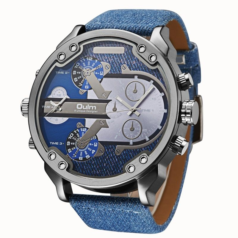 TEAROKE Denim Men Sport Watch Oulm Luxury Brand Big Dial Quartz Watch Stainless Steel Leather Male Fashion Wristwatch <font><b>Military</b></font>