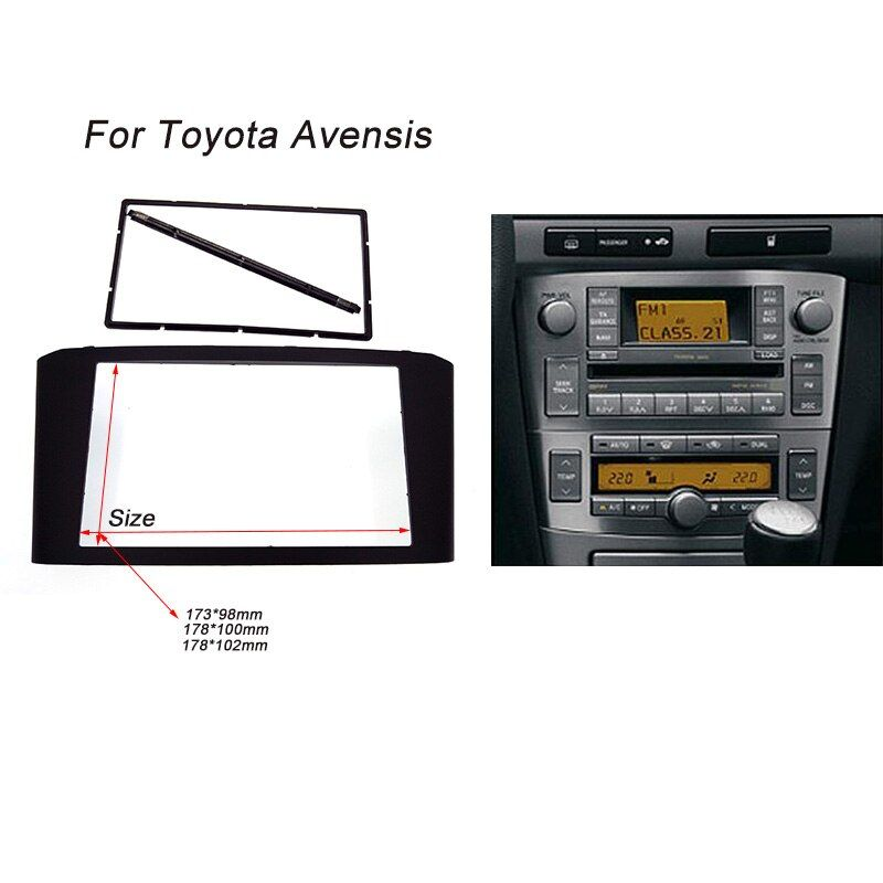 Autoradio Fascia pour TOYOTA Avensis Facia panneau stéréo Face plaque Audio lunette Facia Kit de montage au tableau de bord garniture adaptateur 2din DVD cadre