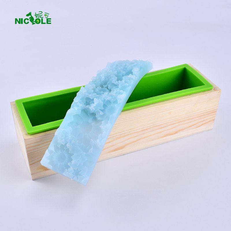 Ремесло тиснением Мыло силиконовые формы набор прямоугольных хлеб плесень с деревянной коробке и цветок Коврики для DIY ручной инструмент