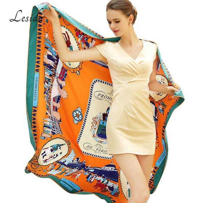 2018 Vintage carré soie imprimé Bandanas pour les femmes de luxe marque Pashmina écharpe châle Twill soie Bandana en gros 130*130cm