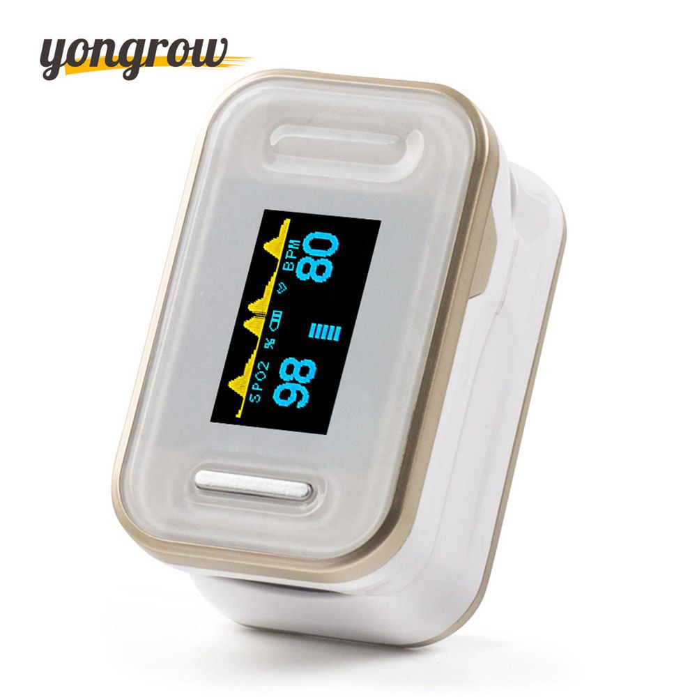 Yongrow Oximetro Pulse Oximeter De Pulso De Dedo Fingertip Pulse Oximeter Golden Color Pulsioximetro Oled Heart <font><b>Rate</b></font> Monitor