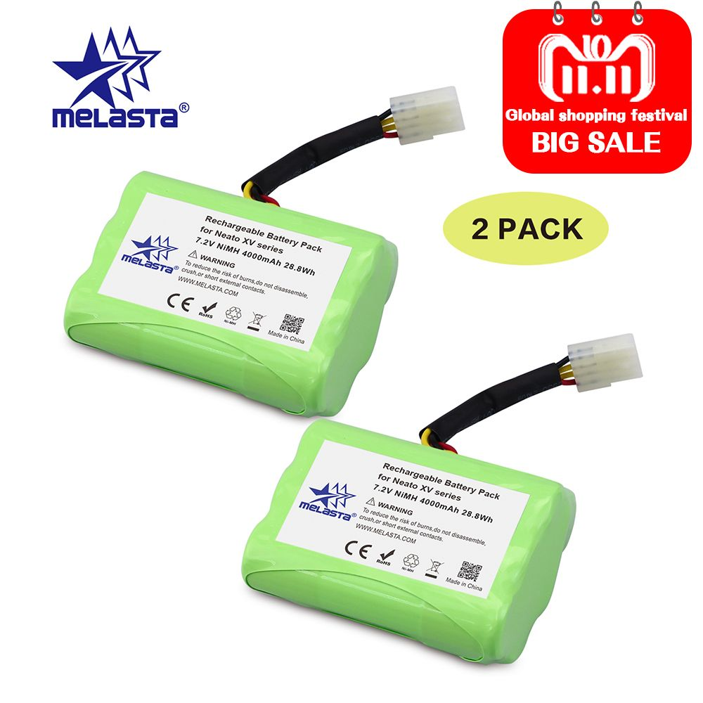 Melasta 2Pack 7.2V 4Ah NIMH Battery for Neato XV-21 XV-11 XV-14 XV-15 XV-12 XV-25 Neato XV Battery Signature Pro