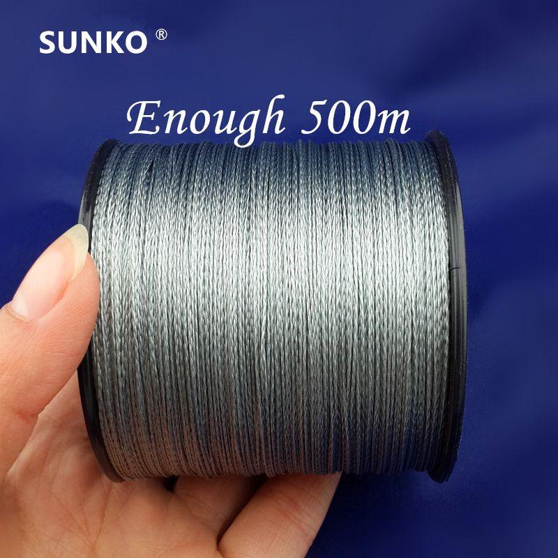 Assez 500 M SUNKO Marque Super Strong Japonais Multifilament PE Matériel de Pêche Tressée ligne 8 10 16 22 30 40 50 60 70 80 LB